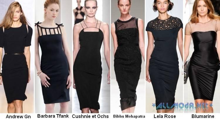 Фото черных платьев футляр на весну 2017 года