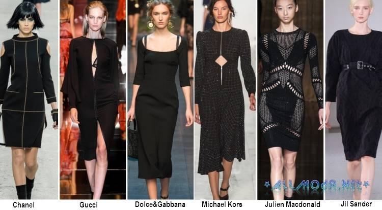 Черные платья с рукавом - весна лето 2017