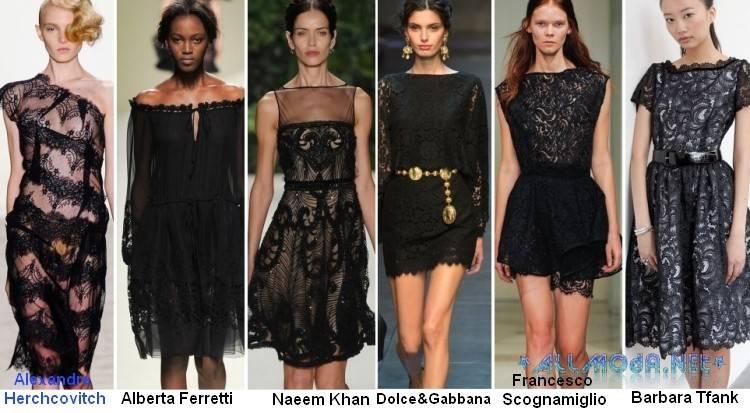 Черные кружевные платья весны 2017 года